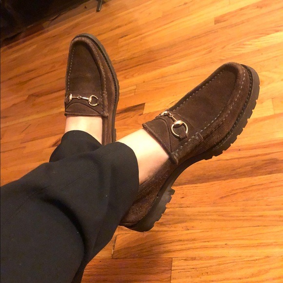 0d43686ee46f2 Gucci Shoes | Chunky Horsebit Suede Loafers | Poshmark
